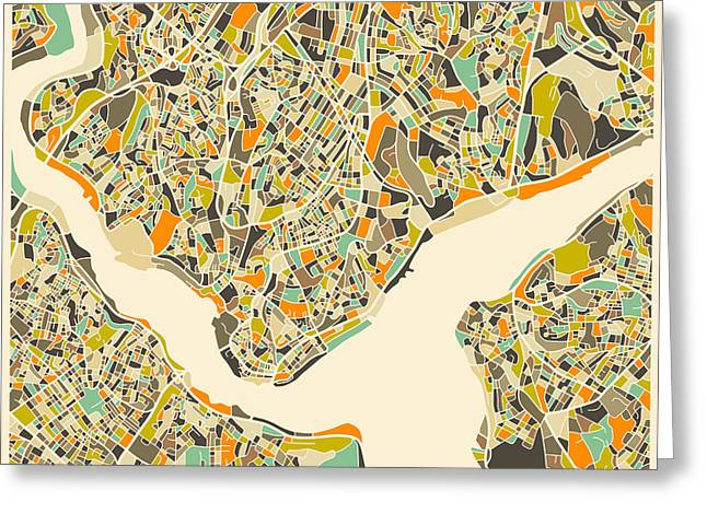 Istanbul Map Greeting Card by Jazzberry Blue