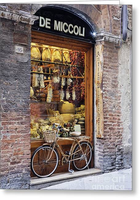 Architectural Detail Greeting Cards - Italian Delicatessen or Macelleria Greeting Card by Jeremy Woodhouse