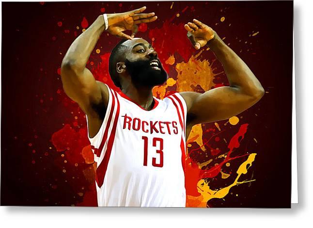 Houston Rockets Digital Greeting Cards - James harden Greeting Card by Semih Yurdabak