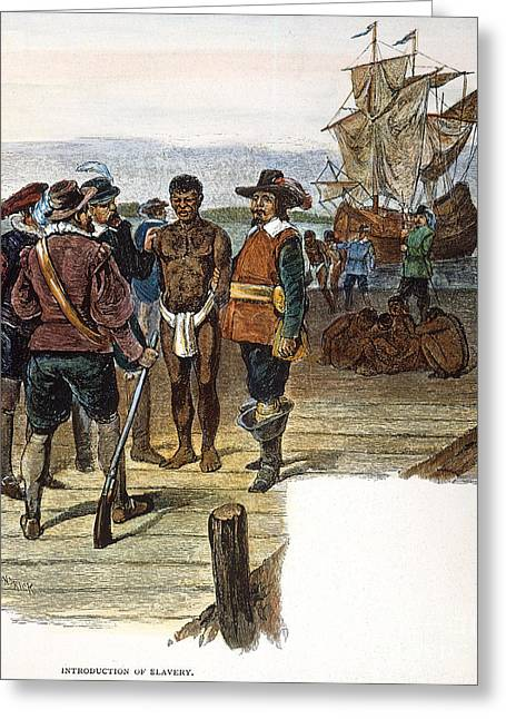 Slaves Greeting Cards - Jamestown: Slavery, 1619 Greeting Card by Granger