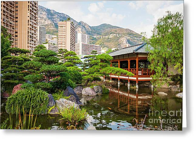 Japanese Garden In Monte Carlo. Greeting Card by Elena Elisseeva