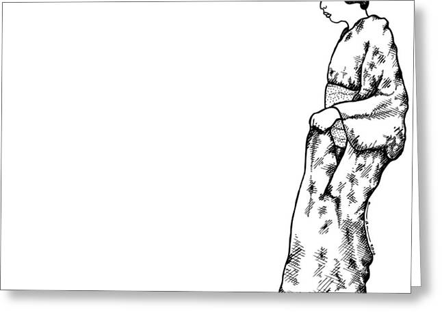 Traditional Drawings Greeting Cards - Japanese Geisha Women Greeting Card by Karl Addison