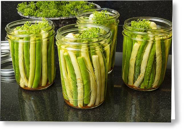 Pickling Greeting Cards - Jars of fresh yellow and green beans for canning Greeting Card by John Trax