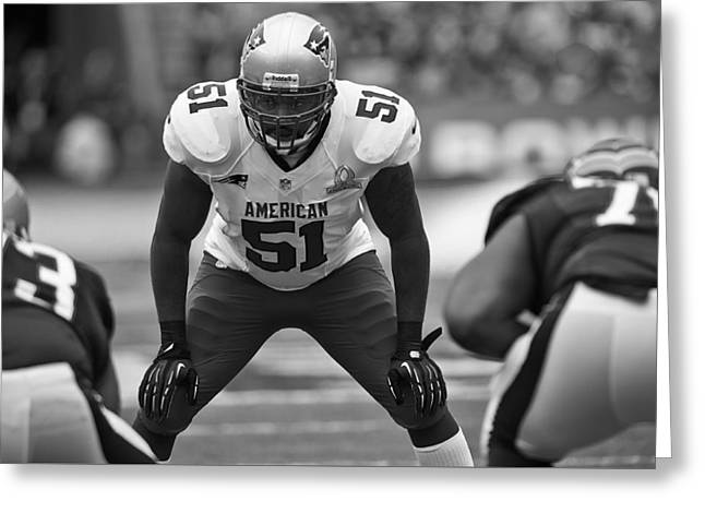 Patriot League Greeting Cards - Jerod Mayo of the New England Patriots Greeting Card by Michael Holzworth