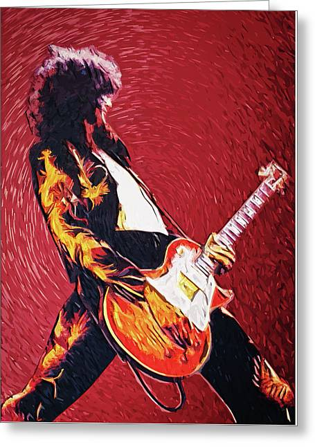 Led Zeppelin Greeting Cards - Jimmy Page  Greeting Card by Taylan Soyturk