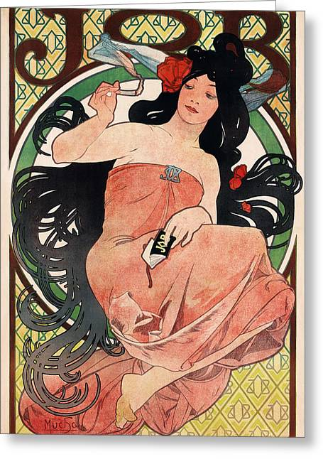 Woman With Big Hair Greeting Cards - Job Greeting Card by Alphonse Mucha