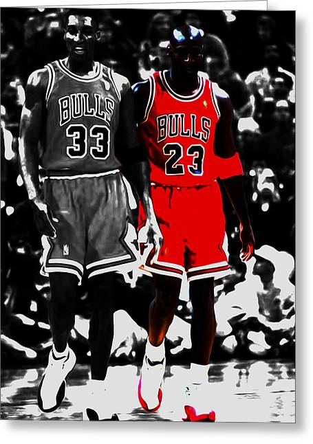 Jordan And Pippen Greeting Card by Brian Reaves