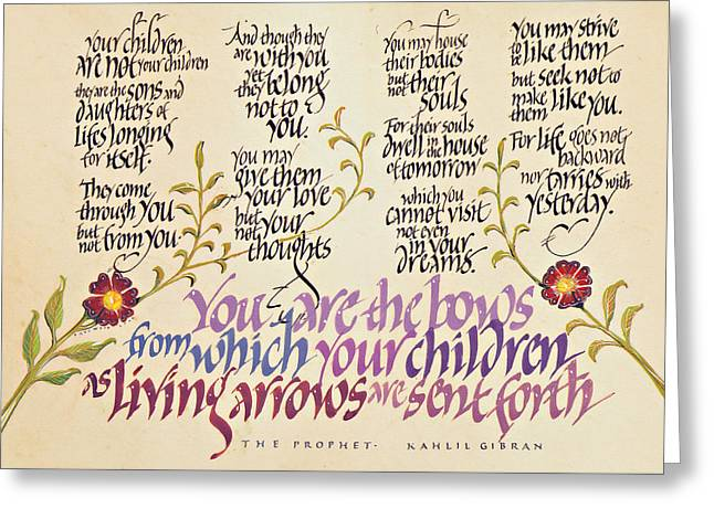 Framed Calligraphy Print Greeting Cards - Kahlil Gibran - Children Greeting Card by Dave Wood