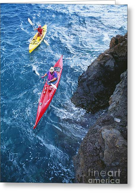 Perouse Greeting Cards - Kayaking Along Coastline Greeting Card by Ron Dahlquist - Printscapes