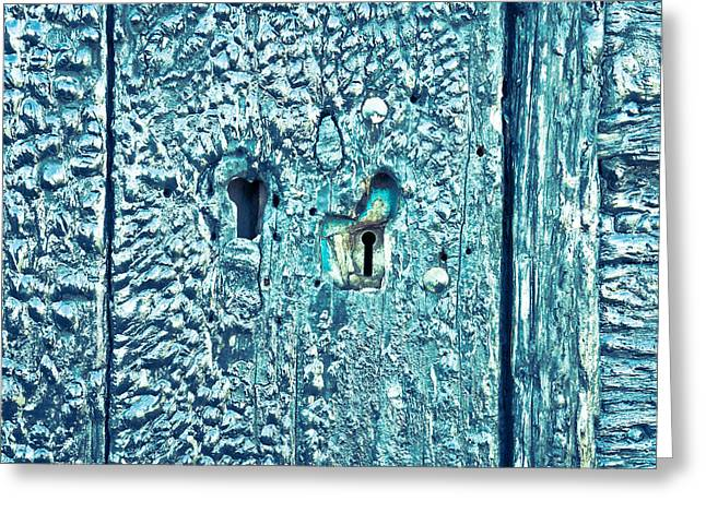 Mystery Door Greeting Cards - Keyhole Greeting Card by Tom Gowanlock