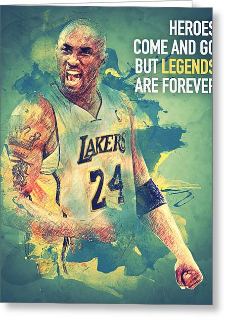 Kobe Bryant Greeting Card by Taylan Apukovska