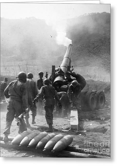 1951 Greeting Cards - Korean War: Artillery Greeting Card by Granger