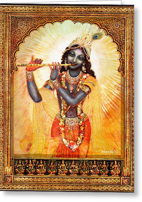 Hindu Goddess Greeting Cards - Krishna with the Flute  Greeting Card by Ananda Vdovic