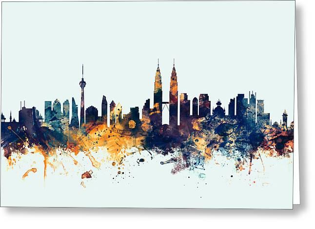 Malaysia Greeting Cards - Kuala Lumpur Malaysia Skyline Greeting Card by Michael Tompsett