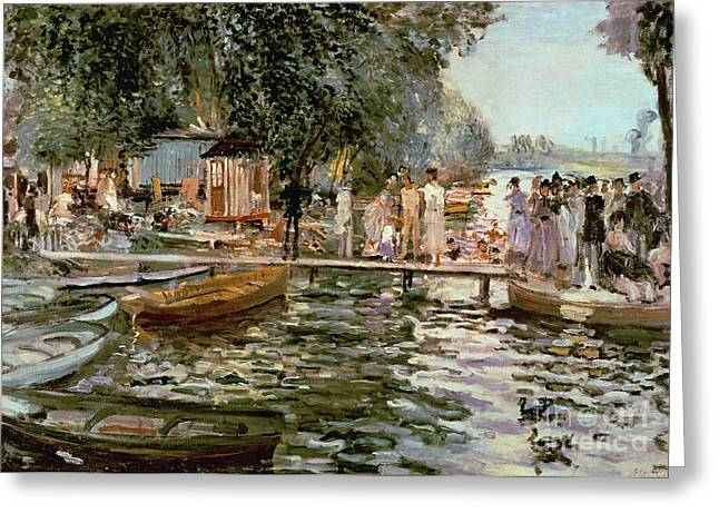 Boats On Water Greeting Cards - La Grenouillere Greeting Card by Pierre Auguste Renoir