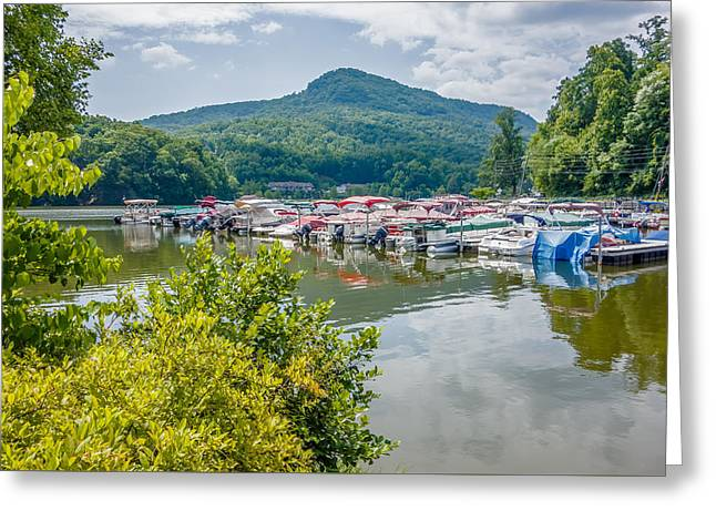 Mountain Valley Greeting Cards - Lake Lure And Chimney Rock Landscapes Greeting Card by Alexandr Grichenko