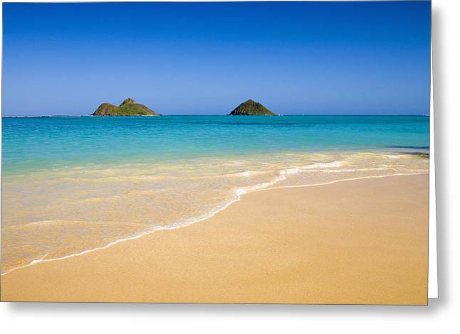 Recently Sold -  - Ocean Shore Greeting Cards - Lanikai, Mokulua Islands Greeting Card by Tomas del Amo - Printscapes