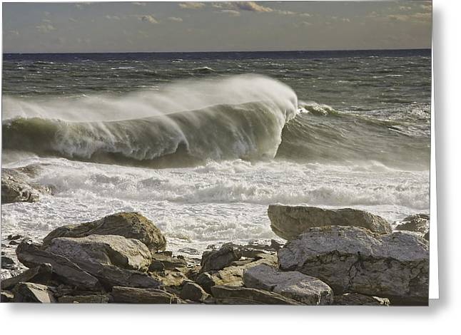 Maine Shore Digital Greeting Cards - Large Waves Near Pemaquid Point On The Coast Of Maine Greeting Card by Keith Webber Jr