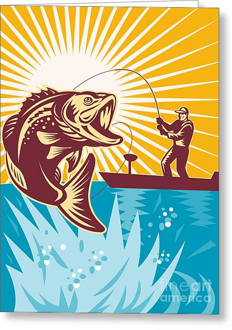 Lake Greeting Cards - Largemouth Bass Fish and Fly Fisherman Greeting Card by Aloysius Patrimonio