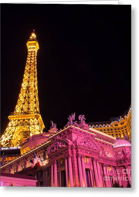 Playing Cards Greeting Cards - Las Vegas Eiffel Tower Paris  Greeting Card by Super Jolly