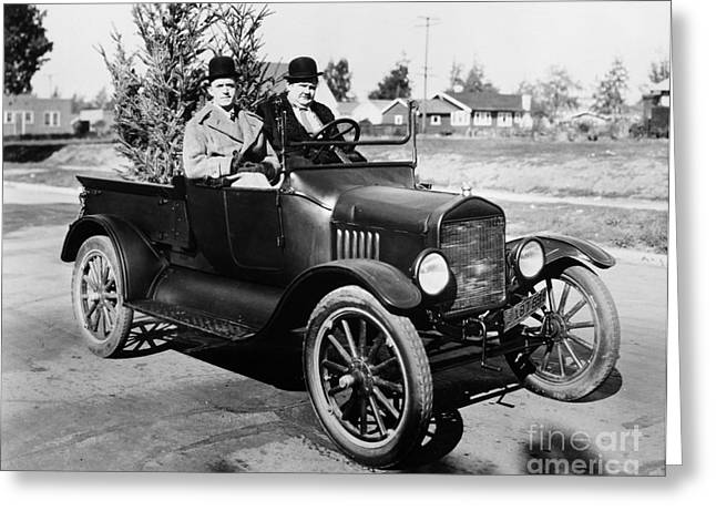 American Automobiles Greeting Cards - Laurel And Hardy Greeting Card by Granger