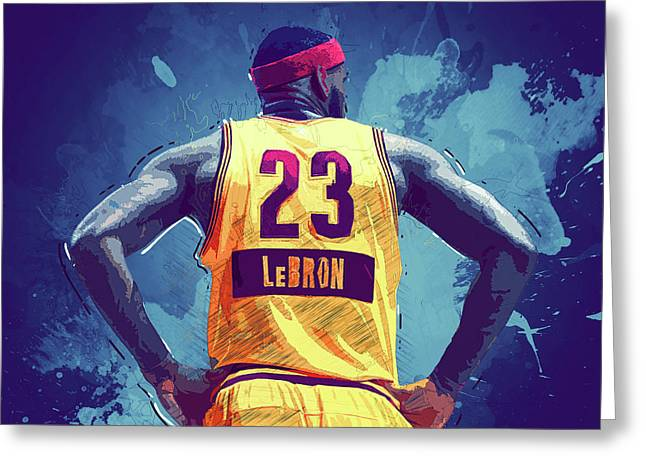 Lebron Digital Greeting Cards - Lebron James Greeting Card by Semih Yurdabak