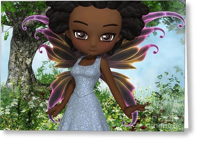 African-american Digital Greeting Cards - Lil Fairy Princess Greeting Card by Alexander Butler