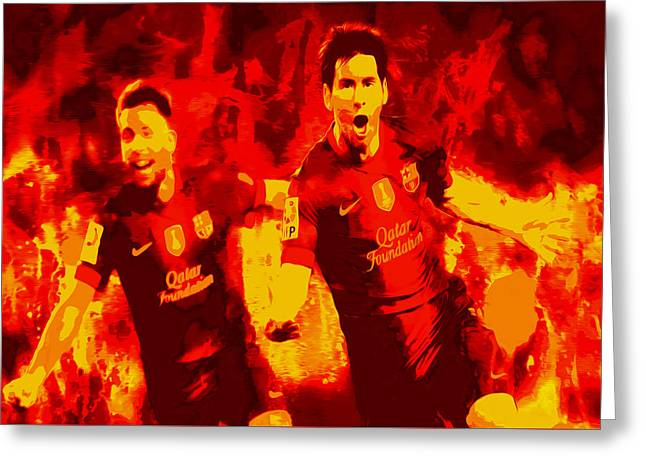Europe Mixed Media Greeting Cards - Lionel Messi and Jordi Alba  Greeting Card by Brian Reaves