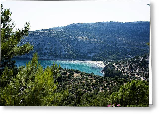 Tourqouise Greeting Cards - Livadi beach on Thassos island Greeting Card by Newnow Photography By Vera Cepic