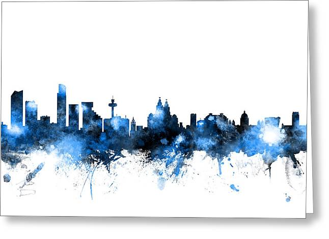 Liverpool Greeting Cards - Liverpool England Skyline Greeting Card by Michael Tompsett