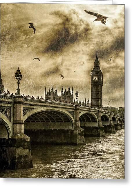 Clocktower Greeting Cards - London Greeting Card by Jaroslaw Grudzinski