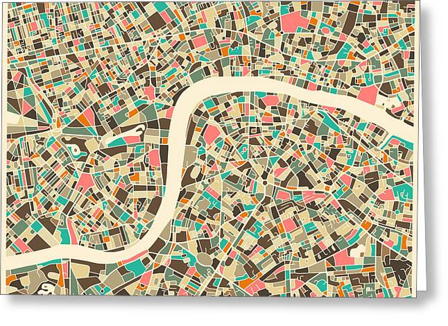 Art Book Greeting Cards - London Map Greeting Card by Jazzberry Blue