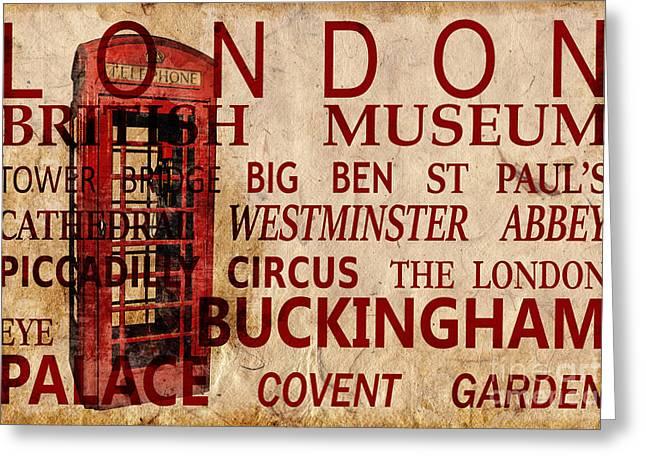 London Vintage Poster Red Greeting Card by Delphimages Photo Creations
