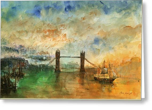 Original Watercolor Greeting Cards - London watercolor painting Greeting Card by Juan  Bosco