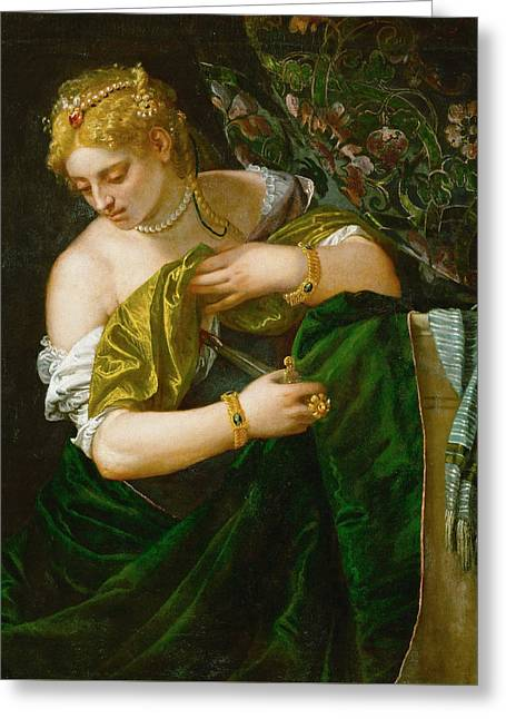 Lucretia Greeting Card by Paolo Veronese