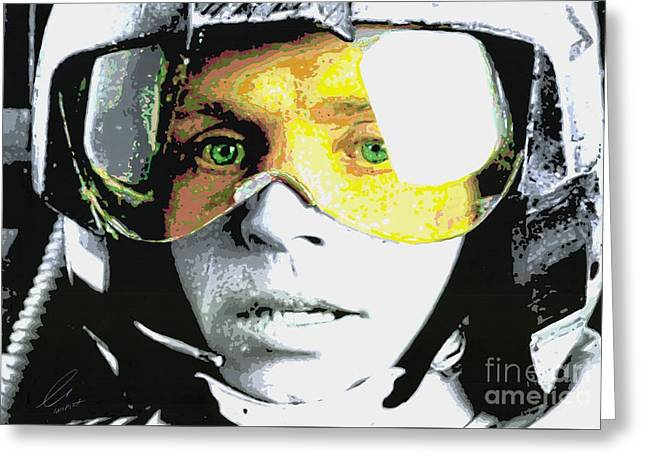 Green And Yellow Abstract Greeting Cards - Luke Skywalker Greeting Card by Eva Lampert