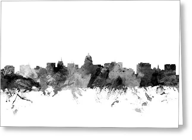 Madison Greeting Cards - Madison Wisconsin Skyline Greeting Card by Michael Tompsett