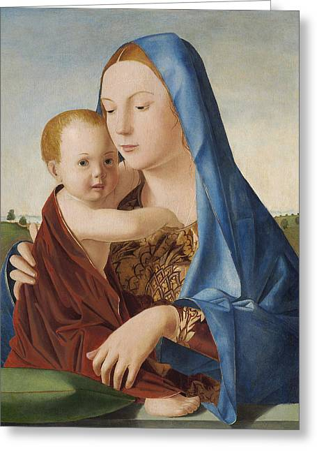 Child Jesus Greeting Cards - Madonna and Child Greeting Card by Antonello da Messina