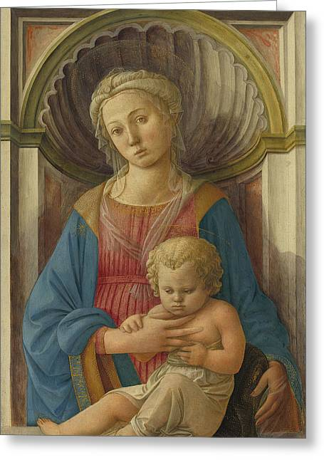 Madonna And Child Greeting Card by Fra Filippo Lippi