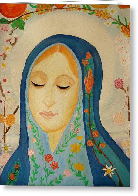 Madonna Art Greeting Cards - Madonna Greeting Card by Kathy Bucari