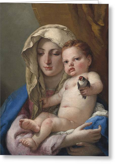 Child Jesus Greeting Cards - Madonna of the Goldfinch Greeting Card by Giovanni Battista Tiepolo