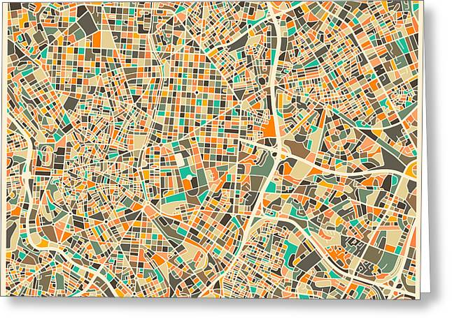 Madrid Map Greeting Card by Jazzberry Blue