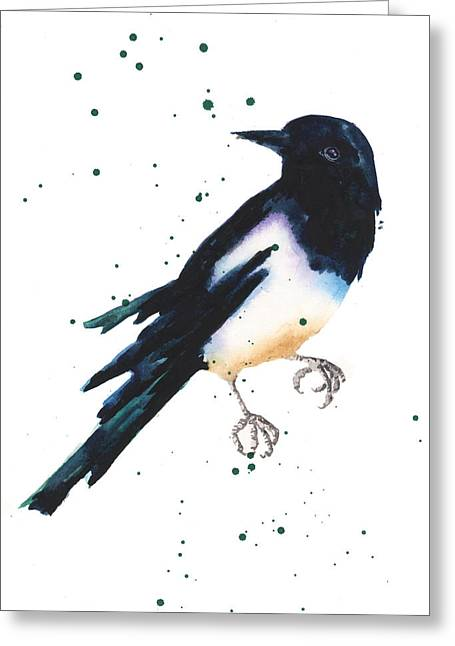 Magpies Greeting Cards - Magpie Painting Greeting Card by Alison Fennell