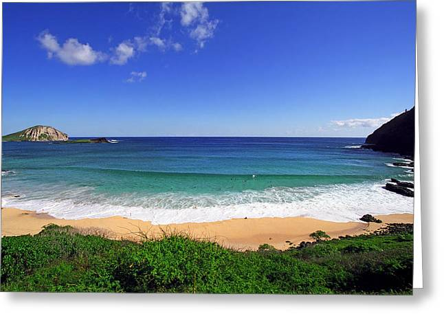 Blue Green Wave Greeting Cards - Makapuu Beach Greeting Card by Kevin Smith