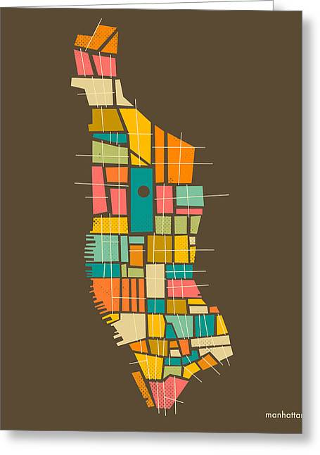 Manhattan Greeting Cards - Manhattan Map Greeting Card by Jazzberry Blue