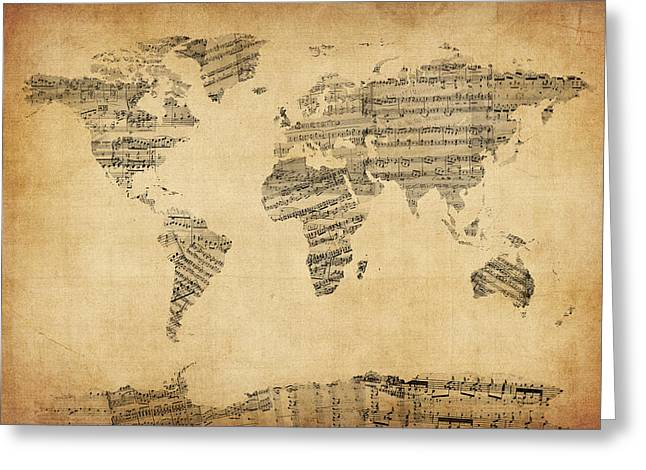 Map Of The World Greeting Cards - Map of the World Map from Old Sheet Music Greeting Card by Michael Tompsett