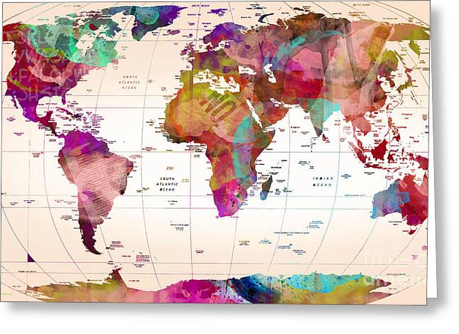 Map Of The World   Greeting Card by Mark Ashkenazi