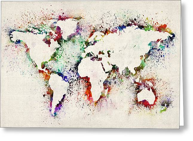 Maps - Greeting Cards - Map of the World Paint Splashes Greeting Card by Michael Tompsett
