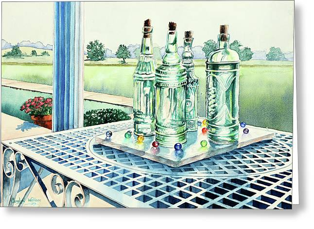 Glass Table Reflection Paintings Greeting Cards - Marbles on Marble Greeting Card by Carolyn Coffey Wallace