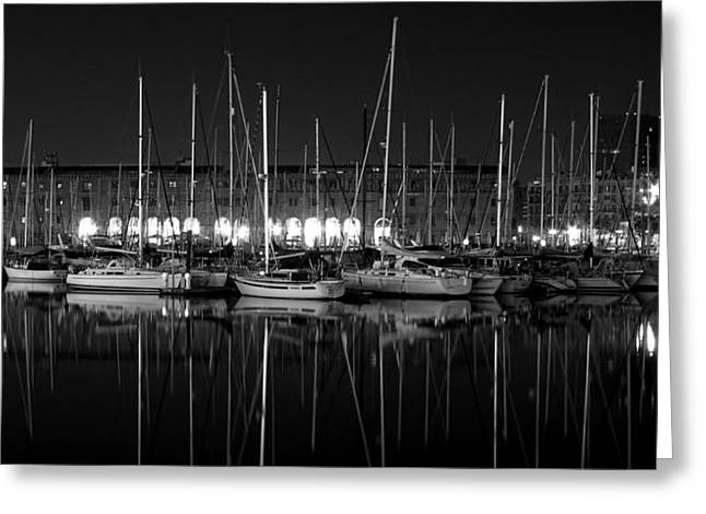 Sailboats In Harbor Photographs Greeting Cards - Marina Reflections - Madrid Greeting Card by Vlada11